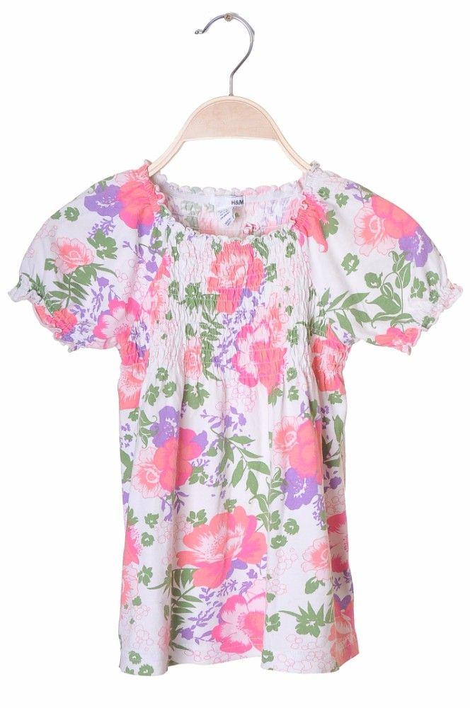 Bluza alba cu flori H&M, 7-8 ani
