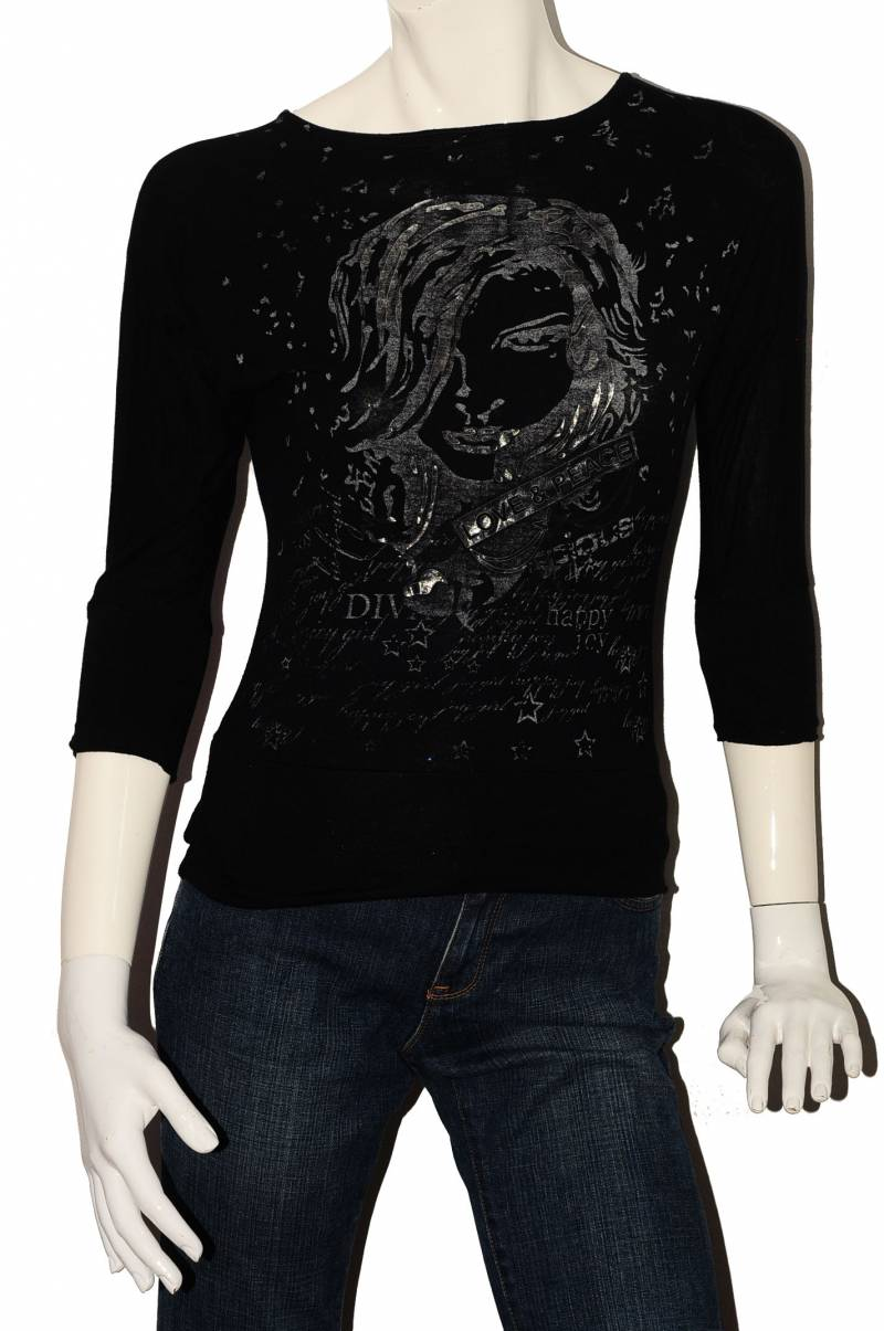 Bluza neagra cu imprimeu Puls, marime XS