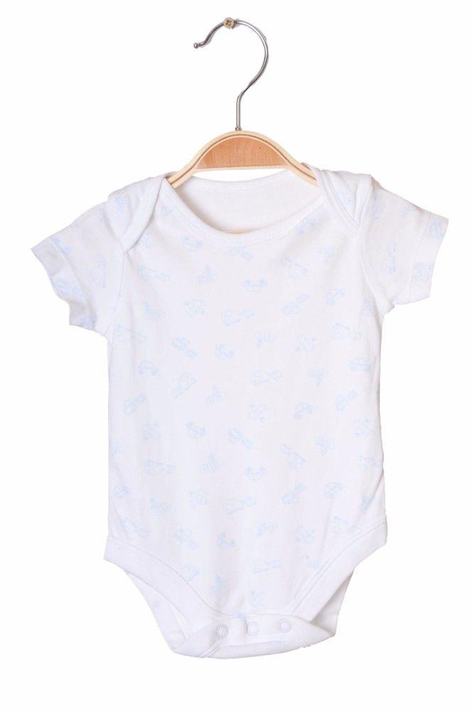 Body alb cu print bleu Tu, 3-6 luni