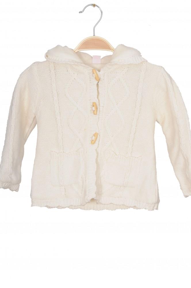 Jacheta tricot bumbac Smile, captuseala fleece, 18 luni