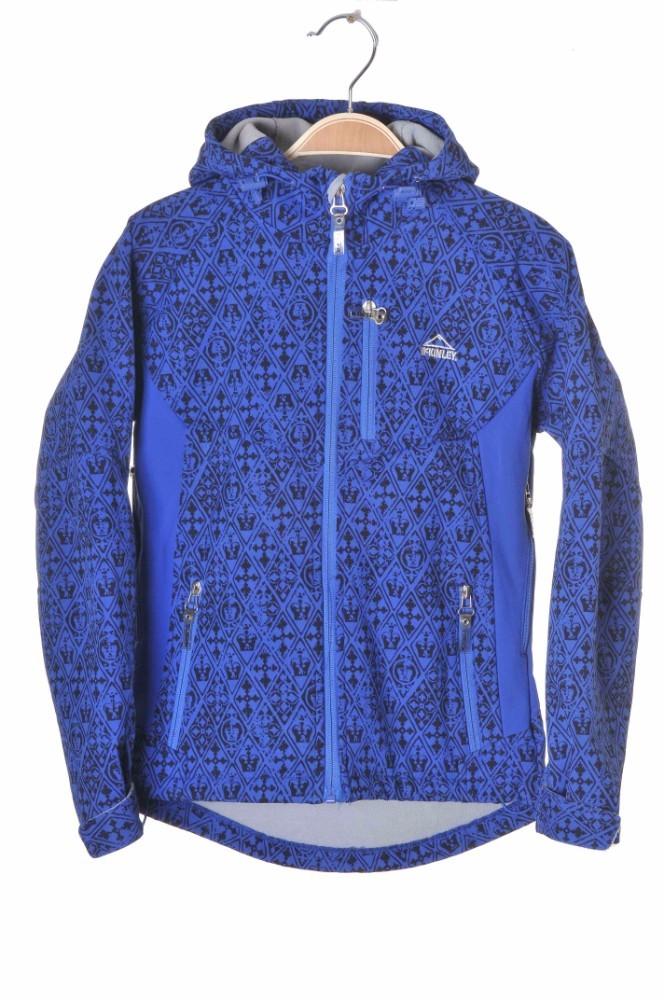 Jacheta softshell albastra print negru McKinley, 8-9 ani
