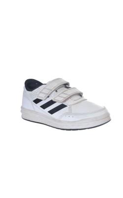 Adidasi albi cu trei dungi negre, marime 29