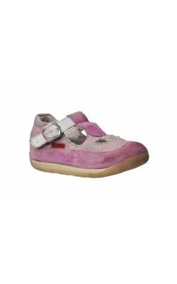 Balerini roz din piele si textil Kickers, marime 22