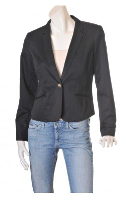 Blazer negru cambrat H&M, captuseala cu dungi, marime 44