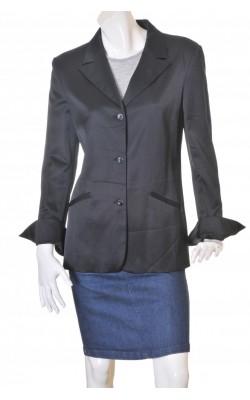 Blazer satin negru vascoza si lana Laura Biagiotti, marime 44