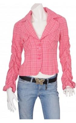 Blazer stofa roz cu alb Sisley, marime 38
