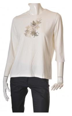 Bluza alba cu imprimeu Classic by Cecillia, marime XL