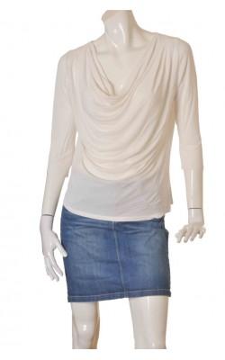 Bluza alba Lindex, guler drapat, marime M