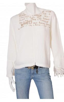 Bluza alba print fata 2-Biz, marime XL