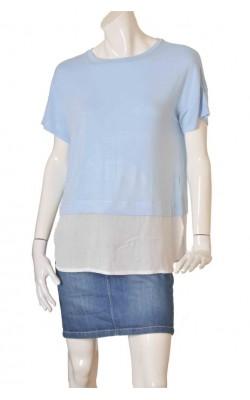 Bluza bleu cu alb Forever 21, mix tesaturi, marime 42