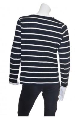 Bluza bleumarin cu alb Andrea, bumbac texturat, marime L