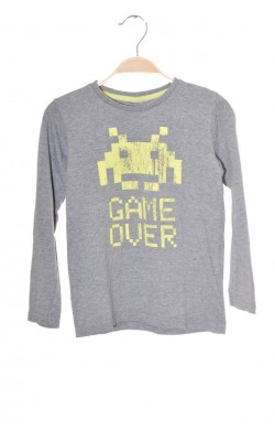 Bluza gri cu imprimeu robot Game Over, 7-8 ani