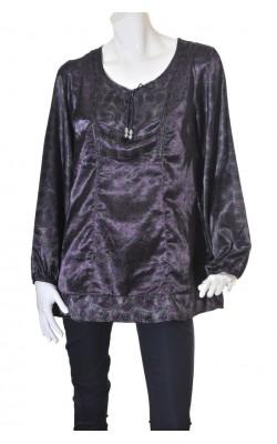 Bluza gri satin cu imprimeu mov Soyaconcept, marime XL