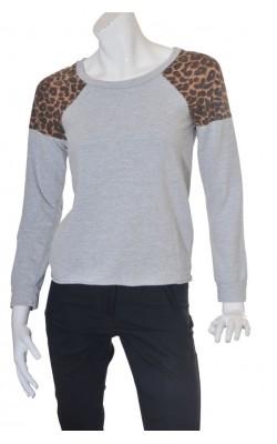 Bluza molton gri Nly Trend, umeri animal print, marime S