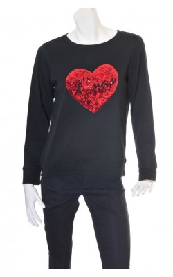 Bluza molton Vero Moda, inima rosie paiete marime L