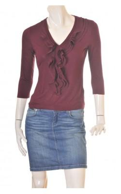 Bluza mov vanata H&M, volane chiffon, marime S