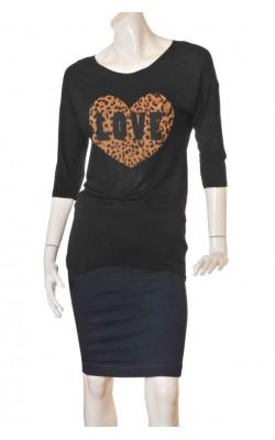 Bluza neagra cu imprimeu animal print H&M, marime 36