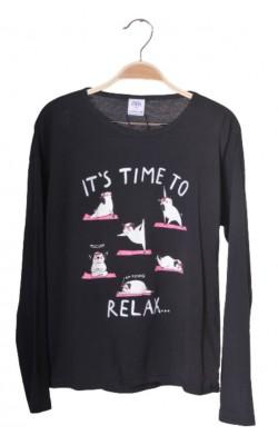 Bluza neagra cu imprimeu Zara, croi supradimensionat, 13-14 ani