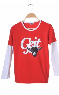 Bluza rosie din bumbac Nrc, 8-9 ani