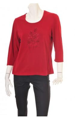 Bluza rosu inchis cu broderie, marime XL