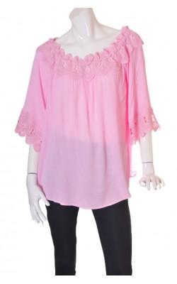Bluza roz guler dantela Cream, marime 48