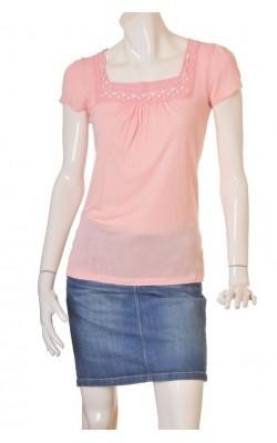 Bluza roz guler dantela H&M, marime S