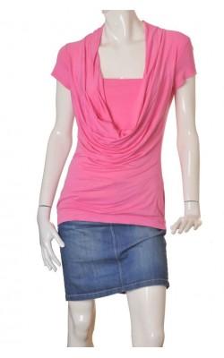 Bluza roz guler drapat Sorbet, marime L