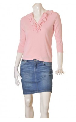 Bluza roz Ralph Laure, guler volane, marime L