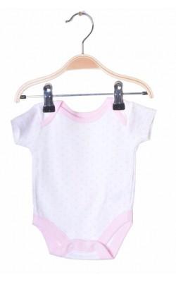 Body alb cu roz Nutmeg, 0-1 luni, 3.5 kg