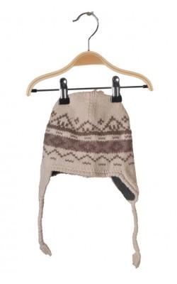 Caciula bej de lana, captuseala fleece, 4-6 ani
