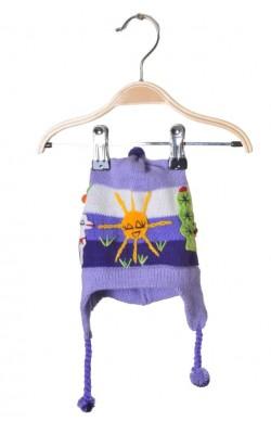 Caciula mov, tricot moale, 6-12 luni