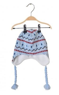 Caciula tricot bleu, captusita cu fleece, 5-8 ani