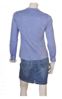 Camasa bleu cu volane H&M, croi cambrat, marime 38