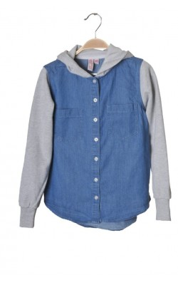 Camasa denim cu gluga Wow and Me, 11-12 ani