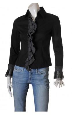 Camasa neagra Assure, volane decorative, marime 38