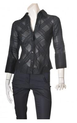 Camasa neagra cambrata H&M, bumbac texturat, marime 36
