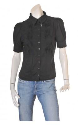 Camasa neagra H&M, bust plisat, marime 42