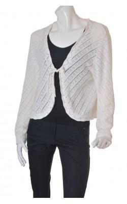 Cardigan alb tricot ajurat Brandtex, marime XXL