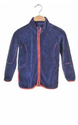 Cardigan fleece albastru cu oranj, Minymo, 6 ani