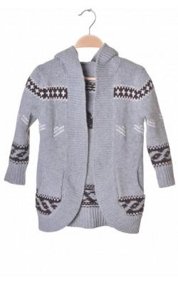 Cardigan lung lana pura, 5-6 ani
