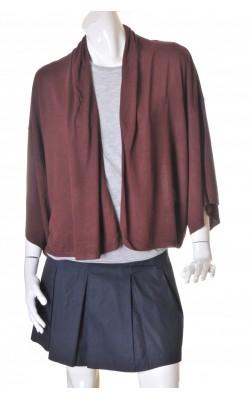 Cardigan maro drapat H&M, tricot fin vascoza, marime L