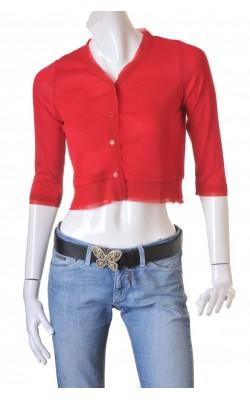 Cardigan rosu din tricot fin si chiffon Imitz, marime 38