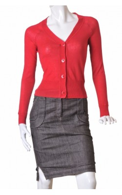 Cardigan rosu tricot fin bumbac H&M, marime 36