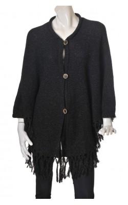 Cardigan stil poncho Vilnos Namai, lana pura, marime universala