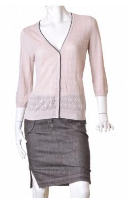 Cardigan taupe tricot fin ajurat H&M, marime L