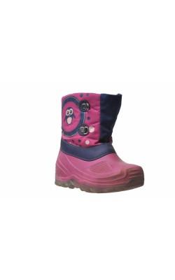 Cizme roz cauciuc, interior polar, talpa cu led, marime 26