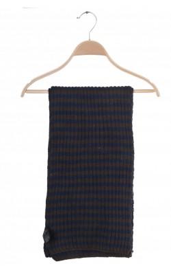 Fular bej cu bleumarin H&M, amestec lana