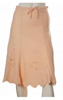 Fusta de in roz pal H&M, broderie ajurata, marime 34