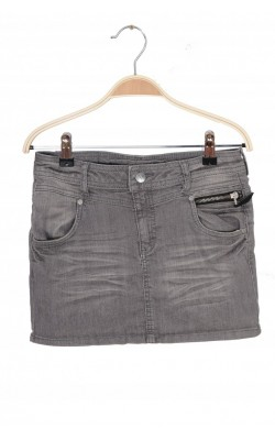 Fusta gri denim stretch H&M, 12-13 ani