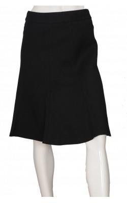 Fusta in clini H&M, stofa neagra texturata, marime 36